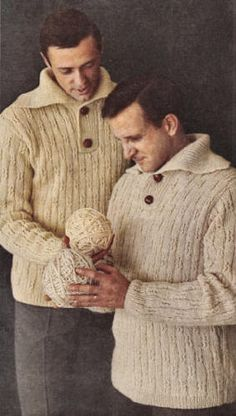Mens Pullover Sweater Vintage Knitting Pattern for download 36-46
