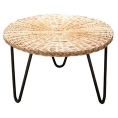 Wicker Coffee Table by Mathieu Mategot