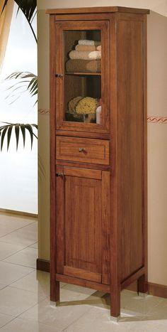 """Maße:   60 x 44 x 180 cm Farbe:   Walnuss  Eine große Badezimmervitrine aus der italienischen Badmöbelserie """"Ricordi""""."""