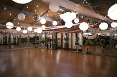 dance studio...Love the big lighted globes