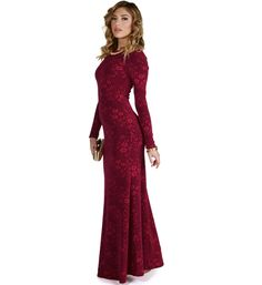 """You need a dress that pops for that special upcoming event, and the Madeline dress will not disappoint. Detailed with an embossed floral print, this gown has long sleeves and an open back. Pair it with minimal jewelry and let the dress get all the shine.*Special Occasion*Approximately 58"""" side seam*95% Polyester*5% Spandex*Lining 100% Polyester Hand wash. Do not bleach. Low iron. Hang to dry. Do not wring."""