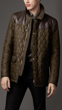 Burberry Leather Panel Quilted Jacket