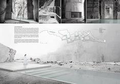 Lost Landscape in Carrara by Luiz Eduardo Lupatini Arcade Architecture, Water Architecture, Architecture Panel, Architecture Design, Presentation Board Design, Architecture Presentation Board, Project Presentation, Carrara, Architecture Portfolio Template