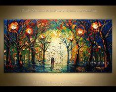 Excited to share this item from my shop: Oil painting on canvas Evening Walk Palette Knife landscape art by Nizamas ready to hang Painting Edges, Light Painting, Oil Painting On Canvas, Canvas Art, Acrylic Paintings, Ship Paintings, Your Paintings, Fantasy Paintings, Landscape Art