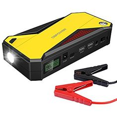 DBPOWER 600A Peak 18000mAh Portable Car Jump Starter (up to 6.5L Gas, 5.2L Diesel Engine) Battery Booster Phone Charger with Smart Charging Port, Compass, LCD Screen and LED Light (Black/Yellow)