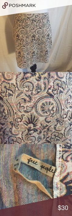 """Free People tan multi paisley printed mini skirt S Free People tan multi paisley printed mini skirt Size Small. Bought from Macy's. 100% Authentic. Knit material. 13"""" waist across, 15"""" across hips, and 15"""" long. Reasonable offers are welcome Free People Skirts Mini"""
