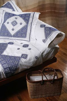 Embroidered Bed Linens from Morocco - such a good price too.  http://remodelista.com/posts/fabrics-linens-embroidered-bed-linens-from-morocco#