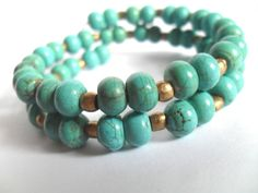 Turquoise Bracelet, Gemstone and Brass Bead Memory Wire Wrap Bangles