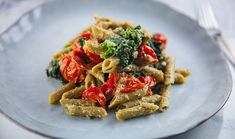 Green Peas Penne with Pesto, Kale & Roasted Tomatoes