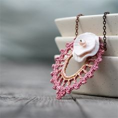 SALE  Lacy Days  Necklace with crocheted motif by byMarianneS, $29.00