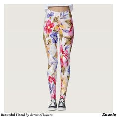 Shop Beautiful Floral Leggings created by ArtisticFlowers. Floral Leggings, Yoga Leggings, Yoga Pants, Knit Pants, Floral Style, Look Cool, Leggings Fashion, Dressmaking, Flower Patterns