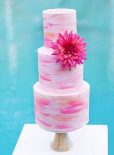 pink and coral watercolor wedding cake - Simple but lovely!