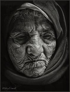 Close-up portrait by Mikhail Levit on Black And White Portraits, Black And White Photography, People Photography, Portrait Photography, Old Faces, Close Up Portraits, Ageless Beauty, Monochrom, Interesting Faces