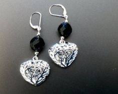 Valentine's Day, Heart Leverback Silver Earrings with Black Crystals , Long Dangle Earrings, Valentines Gift for her, Silver Earrings