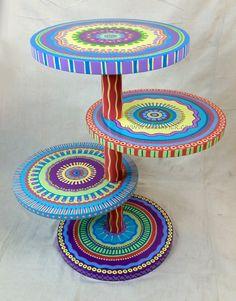 Mandala lado mesa tropicales colores, cuatro estantes personalizados pintan a…