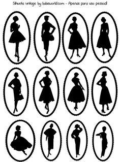 Etiquetas de siluetas vintage.