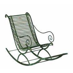 Fauteuil rocking chair de jardin en métal fer forgé Arras vert vieilli
