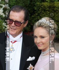 Lady Kristina Moore, nee Tholstrup, fourth wife of Sir Roger Moore, wearing a diamond floral tiara