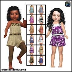 Sims 4 Nexus — To Frolic - A Jumper for Toddler Girls - Sims 4 Toddler Clothes, Sims 4 Cc Kids Clothing, Sims 4 Mods Clothes, Sims Mods, Toddler Girl Outfits, Toddler Fashion, Kids Outfits, Toddler Girls, Boy Clothing