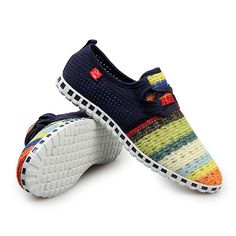 Men Casual Breathable Mesh Rainbow Sneakers Walking Sport Shoes
