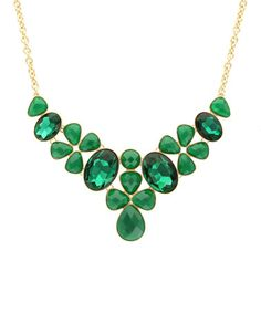 Look what I found on #zulily! Gold & Emerald Stone Collage Collar Necklace by Olivia Welles Jewelry #zulilyfinds