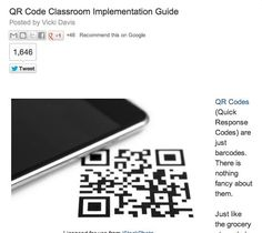 excellent guide for using QR codes in the classroom (from the Cool Cat Teacher's blog)
