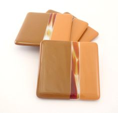 Fused Glass Coasters Brown and Terracotta Set of by Nostalgianmore, $35.00