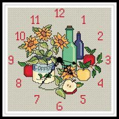 "Gráfico para punto de cruz de un ""Reloj de Cocina"". Cross Stitch Embroidery, Cross Stitch Patterns, Ab Work, Cross Stitch Heart, Floral, Stitching, Kitchens, My Favorite Things, Cross Stitch"