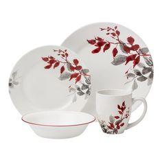 #Corelle Boutique™ Kyoto Leaves 16-pc Dinnerware Set - This red and gray  sc 1 st  Pinterest & Corelle Dishes u0026 Corelle Dinnerware Sets | Something For Everyone ...