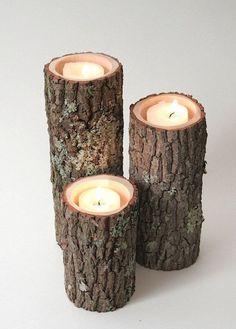 Bûches de bois bougeoirs