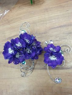 Purple flower corsage and bout for prom