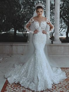 Buy Vestido De Noiva Sexy Long Sleeves Lace Wedding Dress 2019 New See Through Back Lace Mermaid Robe De Mariee Custom Bride Dress at Wish - Shopping Made Fun Fairy Wedding Dress, Lace Wedding Dress With Sleeves, Luxury Wedding Dress, Lace Mermaid Wedding Dress, Long Wedding Dresses, Long Sleeve Wedding, Mermaid Dresses, Bridal Dresses, Wedding Gowns