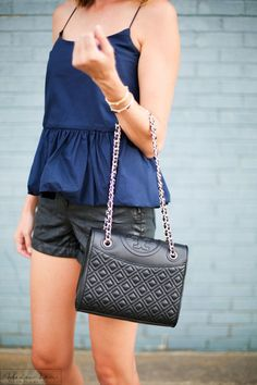 black fleming bag, tory burch