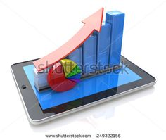 Mobile office, statistics accounting, financial development and banking business concept: tablet computer, growth bar chart  - stock photo
