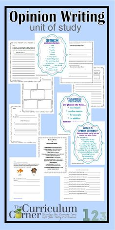 Opinion Writing Unit of Study by The Curriculum Corner - anchor charts, prompts, sentence starters, whole class activities and so much more!!!  All free - designed for 1st, 2nd and 3rd grade classrooms.