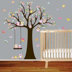 Vinyle mur autocollant Stickers hibou arbre avec balançoire oiseaux pépinière filles bébé