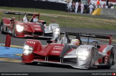 Timo Bernhard pilots the Audi R15 plus in the 2010 24 Hours of Le Mans