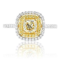 Vintage Inspired Yellow Diamond Ring in Two-Tone Gold