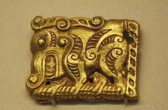 Gold belt plaque with mystical beast motif, Warring States period. Collection of Guyuan Museum, Ningxia, China