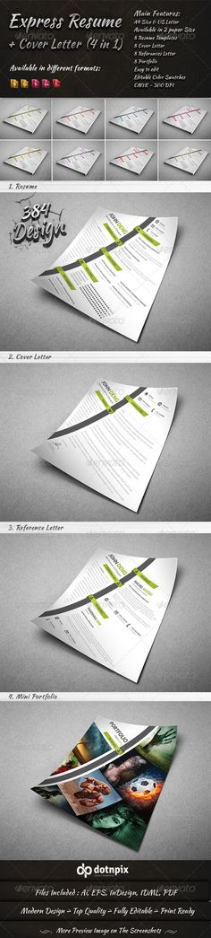 Express Resume - Cover Letter (4 in 1) — Vector EPS #letter #formal • Available here → https://graphicriver.net/item/express-resume-cover-letter-4-in-1/8350375?ref=pxcr