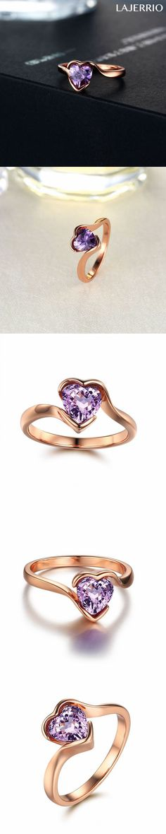 Lajerrio Jewelry Simple Heart Cut Amethyst Engagement Ring