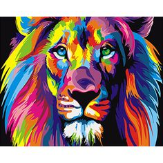 Frameless Colorful Lion Animals Abstract Painting Diy Digital Painting By Numbers Modern Wall Art Picture For Home Wall Artwork Pictures For Home Walls, Wall Art Pictures, Tableau Pop Art, King Painting, Tiger Painting, Painting Process, Paint By Number Kits, Paint By Numbers, Modern Wall Art