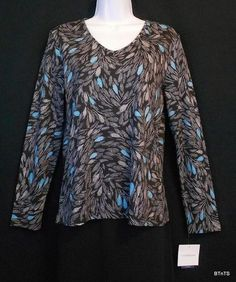 Croft & Barrow #Petite Black Print Cotton Knit Top / Shirt Womens Sz PM #FreeShipping