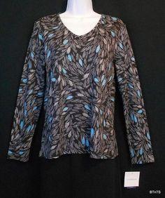 Croft & Barrow #Petite Black Print Long Sleeve Cotton Knit Top Womens Sz PM #MothersDay