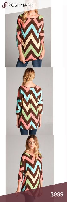 """Coming soon! Don't let your fall wardrobe be drab!  Give it life & color with this cute & comfortable chevron tunic from Fashionomics. Shoulder to hem length (front) - S- 30"""" /M- 30 1/2 / L-31"""".   Bust: S- 22"""" / M- 23"""" / L24"""". Waist: S- 19"""" / M- 20"""" / L- 21"""" Fashionomics Tops Tunics"""