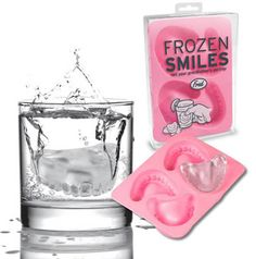Frozen Smiles Ice Cube Mold Tray from Fred Not your Grandfather's ice tray! Quantity: ONE Frozen Smiles cube Tray All of a sudden, dentures arent just for Grandpa anymore! Freeze up a batch of Frozen Dental Humor, Dental Hygiene, Braces Humor, Dental Quotes, Novelty Ice Cube Trays, Objet Wtf, Ice Molds, Jello Molds, Dental Assistant