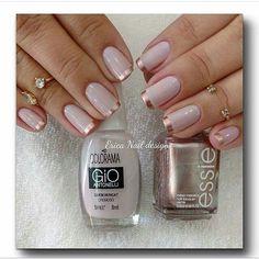 Que fofura ✨✨ : Quem Nunca - Colorama + Penny Talk - Essie : Crazy Nails, Love Nails, How To Do Nails, Pretty Nails, My Nails, Bridal Nails, Wedding Nails, French Nails, Essie