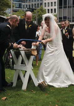 German wedding tradition of sawing a log