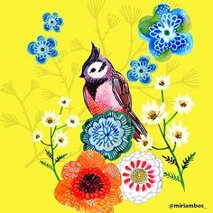 Miriam delights with her charming bird and lovely florals. @miriambos_  #surfacedesign#licensing#artistsoninstagram#luckiestagentever #jennifernelsonartists#illustration#pattern#surfacepattern#surfacepatterndesign#illustratorsoninstagram #illustration#artlicensing #bird #floral