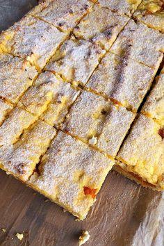 Habkönnyű barackos-túrós pite - GastroHobbi Hungarian Desserts, Hungarian Cake, Hungarian Recipes, Bakery Recipes, Cooking Recipes, Breakfast Recipes, Dessert Recipes, Special Recipes, Sweet Cakes